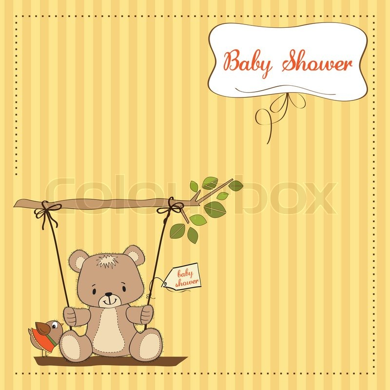 Baby Shower Wiki: Baby Shower Card With Teddy Bear In A ...
