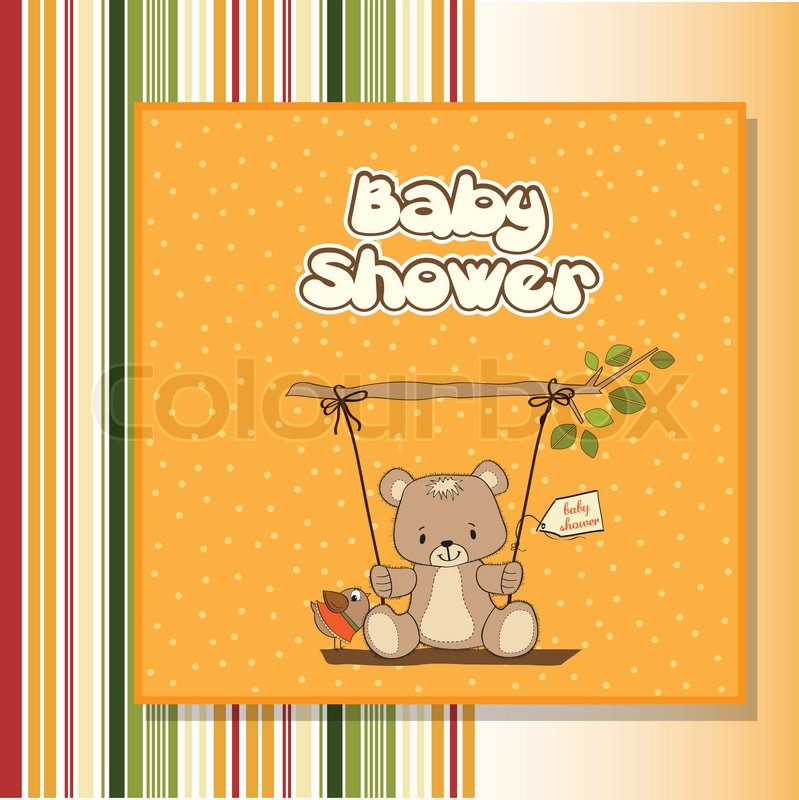 Baby Shower Wiki: Baby Shower Card With Teddy Bear In A Swing