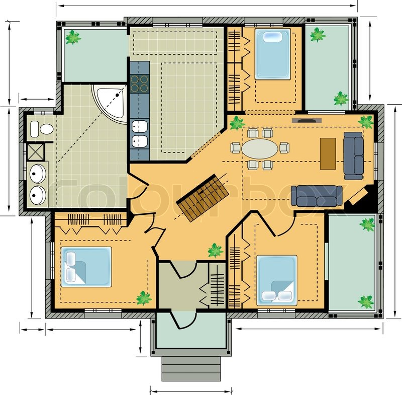 Farbe-Plan-Landhaus | Vektorgrafik | Colourbox