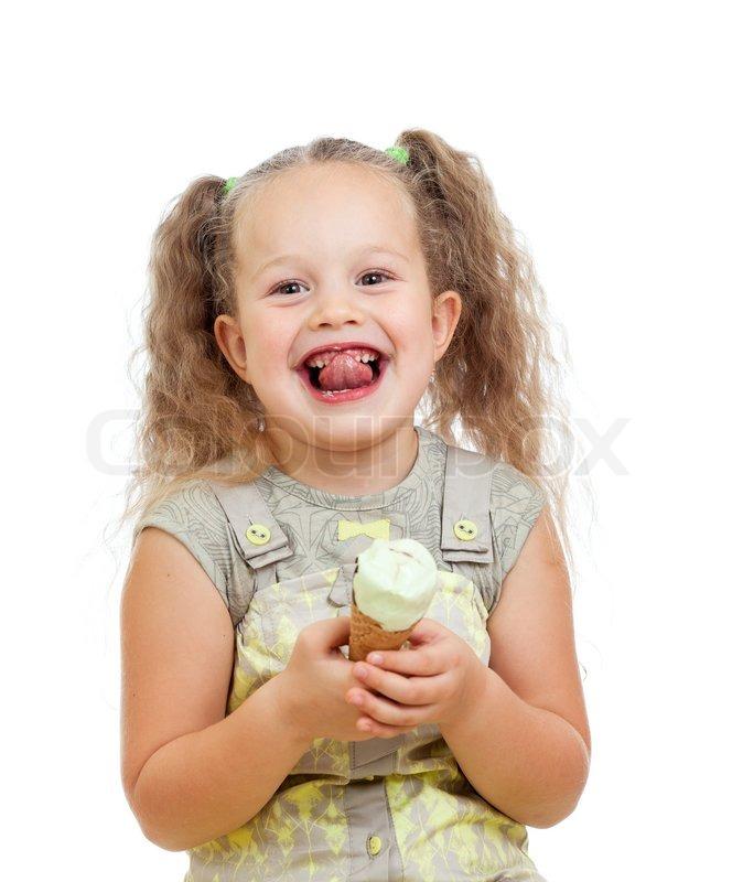 Young girls lick ice cream