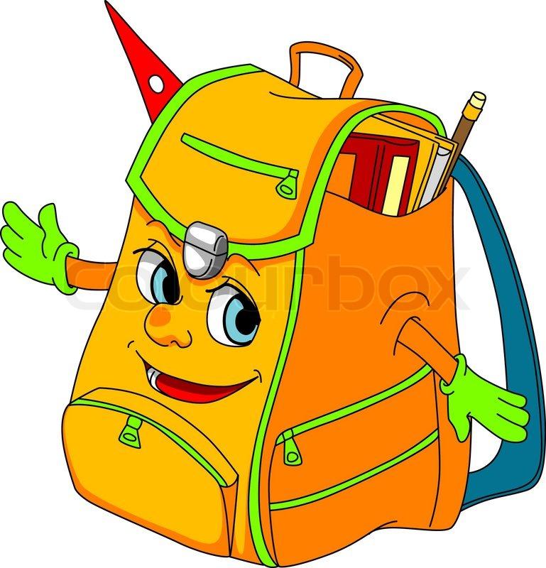 Cartoon School Satchel For Education Concept Vector