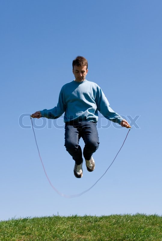 Men with skipping rope | Stock Photo | Colourbox