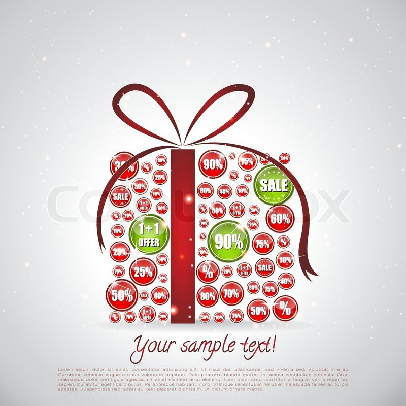 Christmas gift made of sale banners   Stock Vector   Colourbox