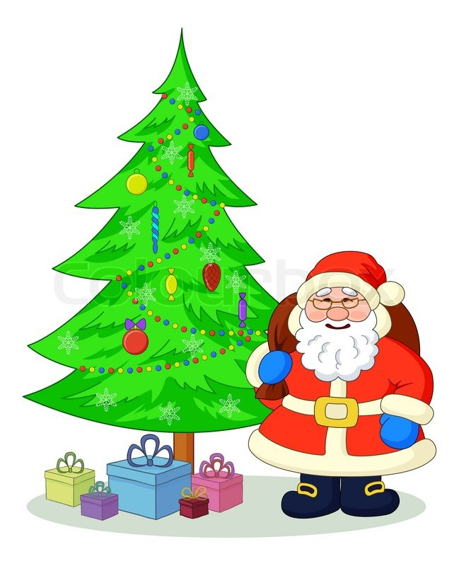 pictures of santa claus with christmas tree