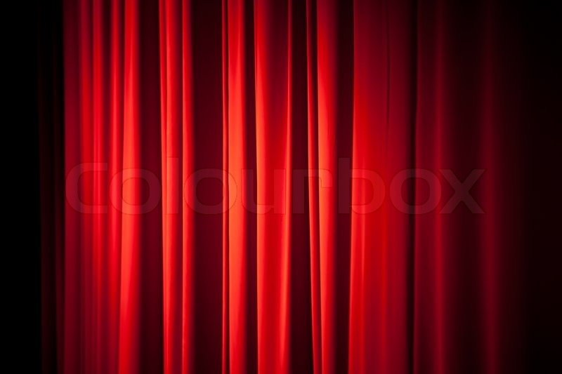 Red theatrical curtain background texture, stock photo