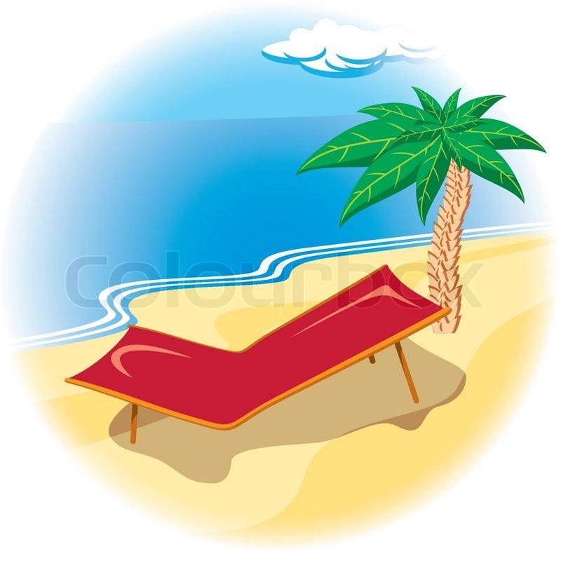 Liegestuhl mit sonnenschirm clipart  Tropische Küste mit Liegestuhl | Vektorgrafik | Colourbox