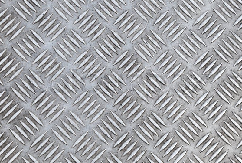 Closeup Texture Of Diamond Metal Plate Stock Photo