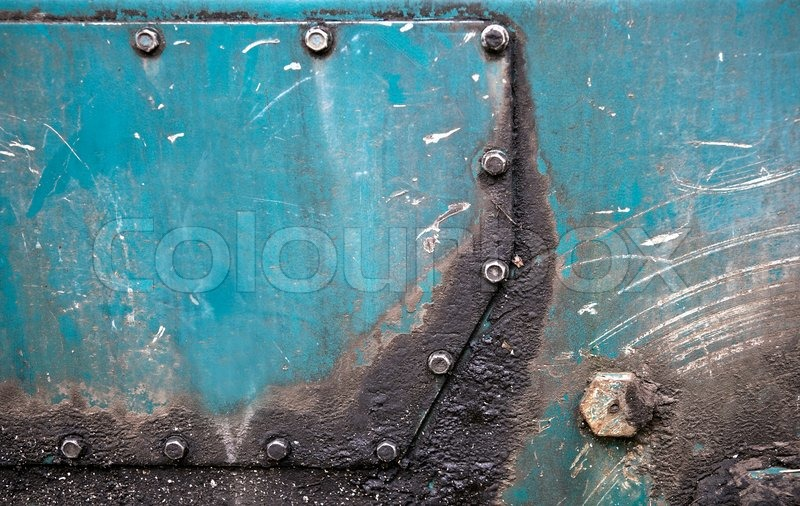 Abstract Detailed Green Metal Panel Stock Photo