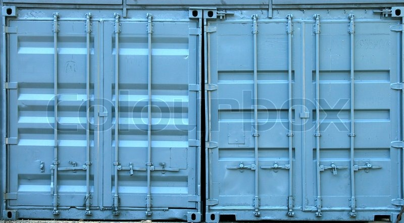 Blue Metal Containers Doors Texture Stock Photo Colourbox