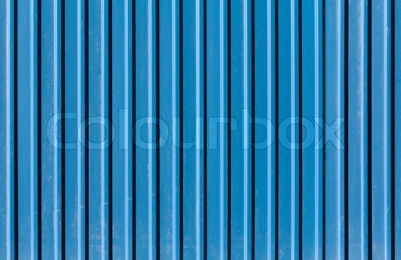 Vertical Ridged Blue Painted Metal Wall Texture Stock