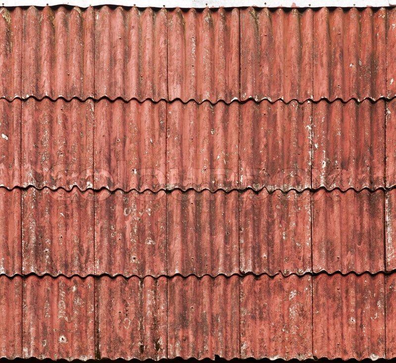 Old Red Slate Tiles Roof Background Texture Stock Photo