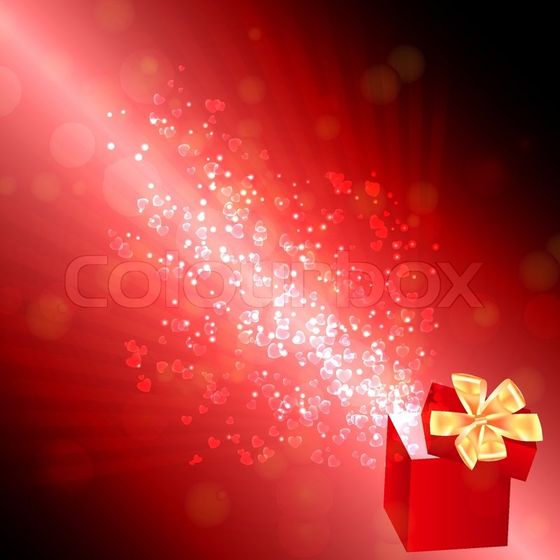 Opened Gift Box With Flying Hearts Stock Vector