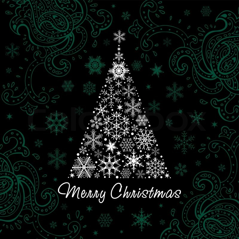 Christmas Tree Of Snowflakes Vector Background