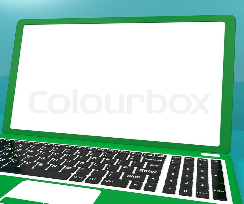 Green Computer On Desk With White Copyspace, stock photo