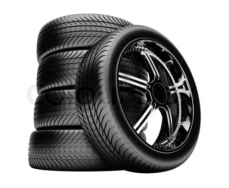 3d tires isolated on white background, no shadow   Stock Photo   Colourbox