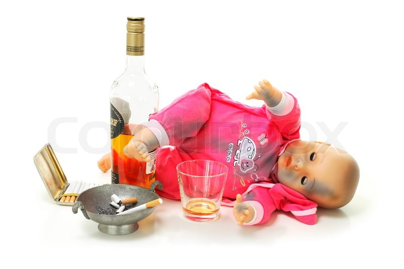 Bottle Of Whisky Ashtraycigarrette And Dirty Doll As Symbol For