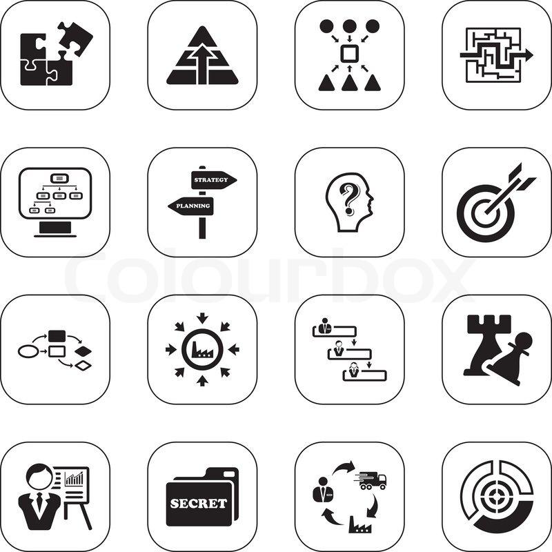 Geschäfts-Strategie-Ikonen - bw-Serie   Vektorgrafik   Colourbox