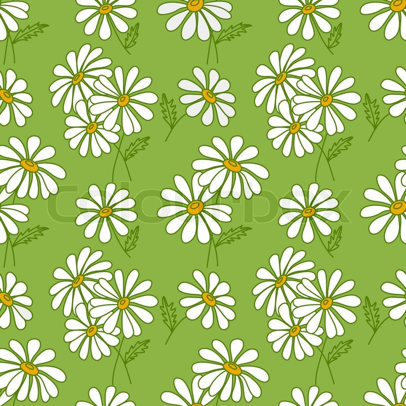 Green Seamless Daisy Pattern Stock Vector Colourbox