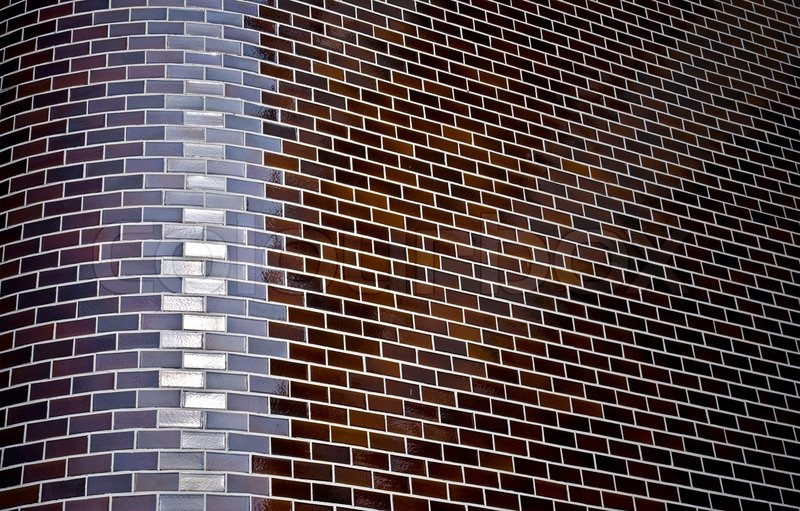 Cool Abstract Dark Background With Chamfered Corner Of Decorative Brick Wall  With Decorative Brick Walls.