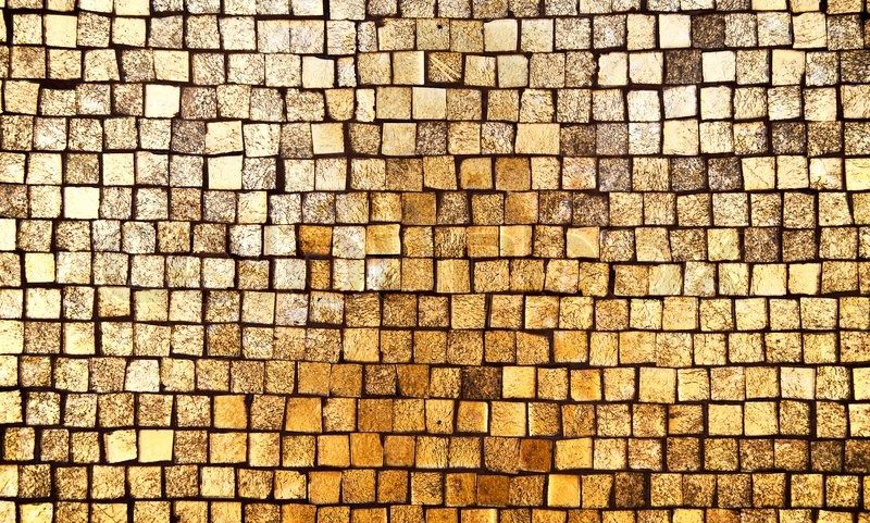 Golden Mosaic Wall Background Stock Photo Colourbox