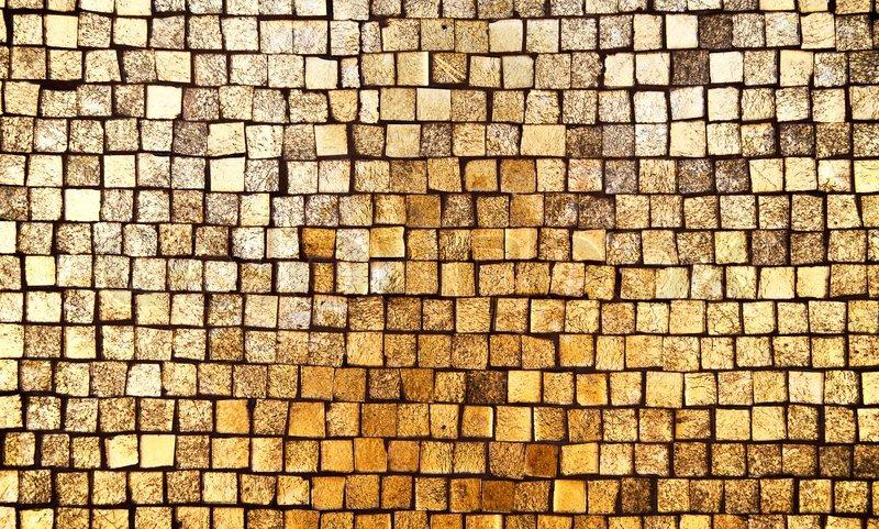 Golden Mosaic Wall Background Stock Photo Colourbox