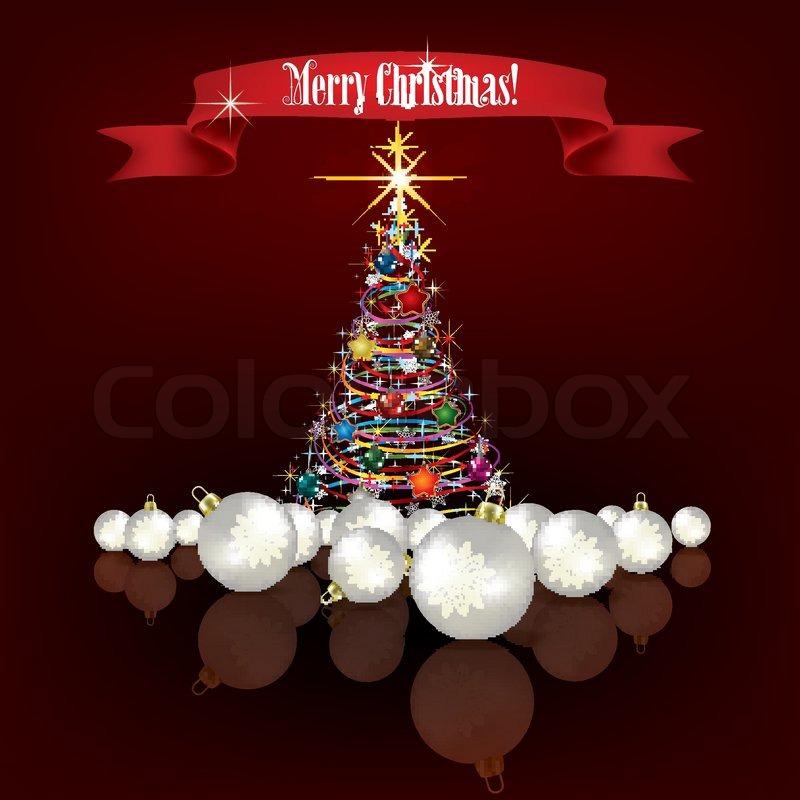 Dunkel rot Weihnachten Begrüßung mit Baum und Dekorationen ...