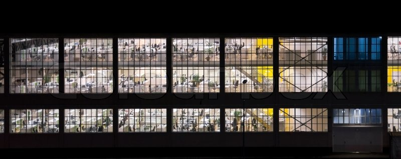 Wall with windows of an empty office building at night stock photo colourbox - Open office windows 8 01 net ...