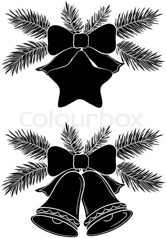 Christmas decorations bells and star with bows fir