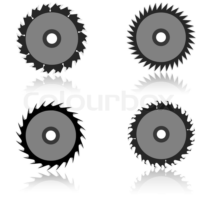 saw blade silhouette. set circular saw blade on a white background | stock vector colourbox silhouette