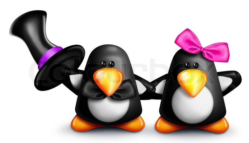Cartoon penguins holding hands - photo#4