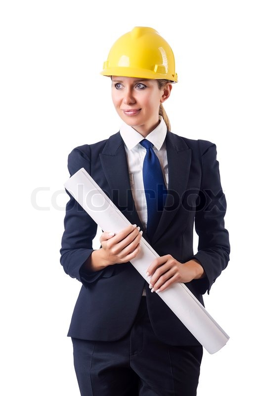 woman architect with drawings on white stock photo