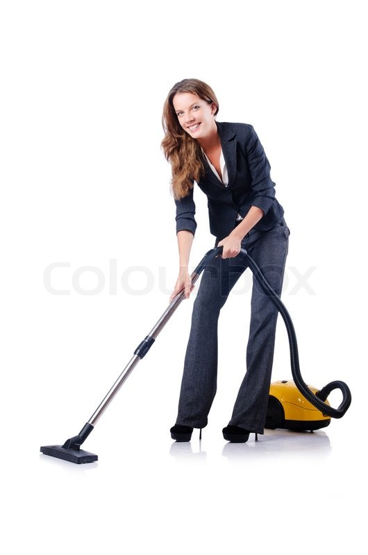 Woman Cleaning With Vacuum Cleaner Stock Photo Colourbox