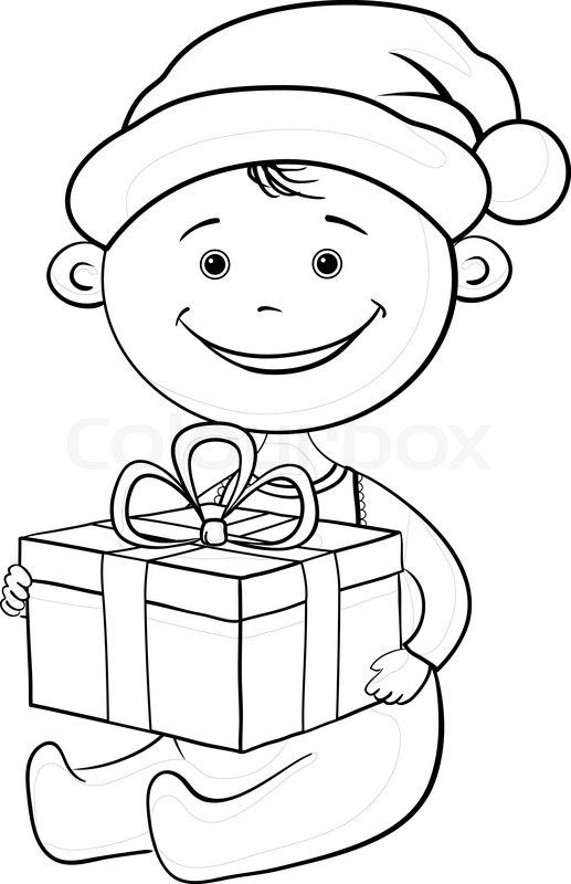 baby santa claus with a gift box outline stock vector colourbox