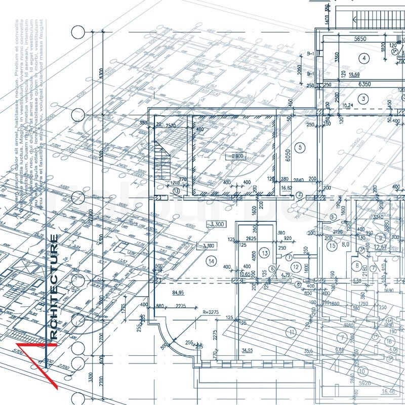 Architectural background part of architectural project for Construction plan drawing
