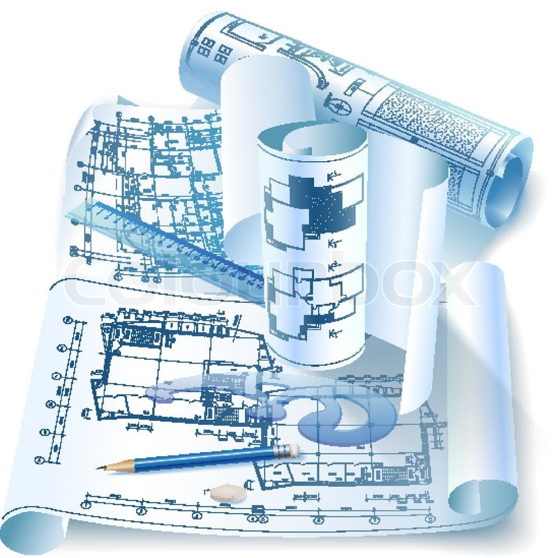Architectural background with drawing tools and rolls of for Online architecture design tool