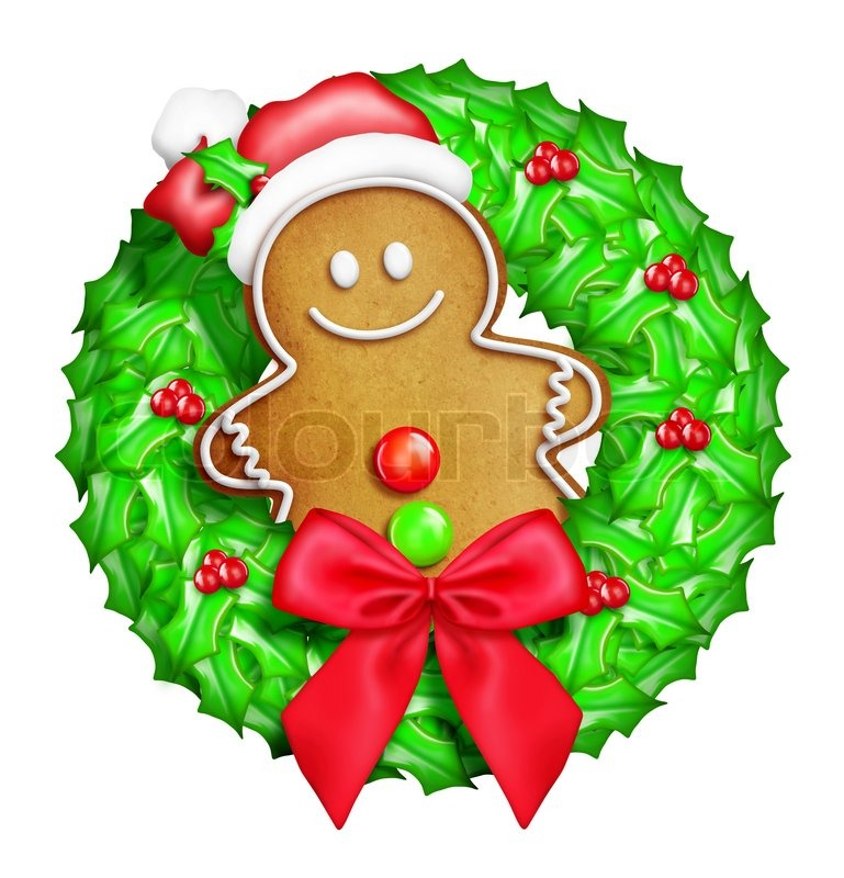 ... Christmas Wreath with Gingerbread Man | Stock Photo | Colourbox