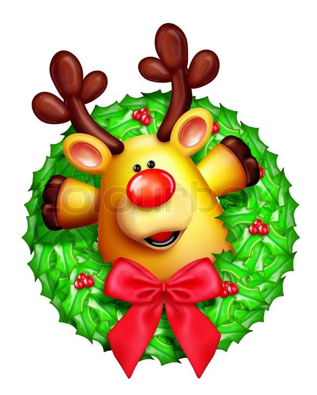 Whimsical Cartoon Christmas Wreath With Stock Photo Colourbox