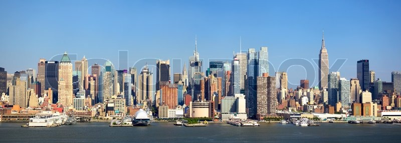 manhattan skyline panorama with empire state building over. Black Bedroom Furniture Sets. Home Design Ideas