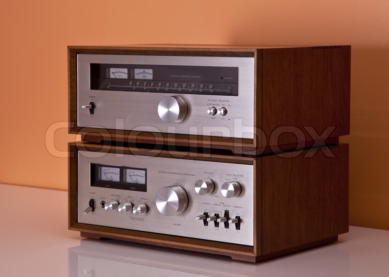 Vintage hi-fi Stereo Amplifier and tuner in wooden cabinets ...