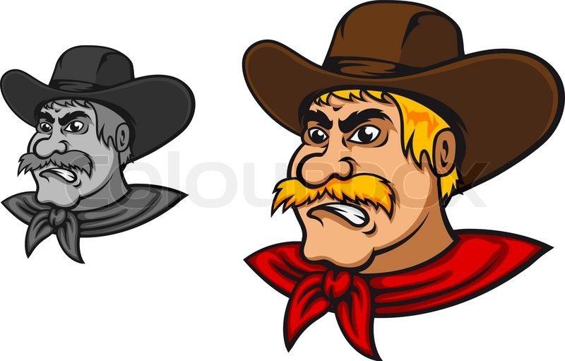 Angry Western Cowboy Stock Vector Colourbox