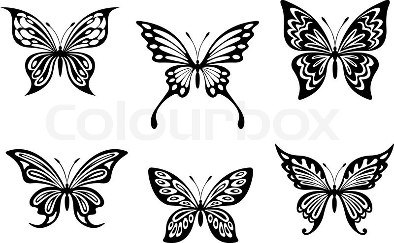 black butterfly tattoos and silhouettes stock vector. Black Bedroom Furniture Sets. Home Design Ideas