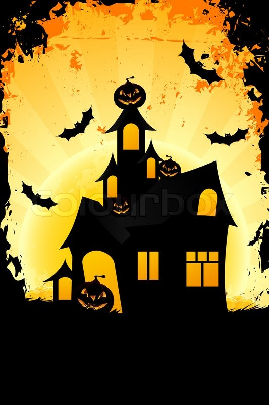 Grungy halloween background with haunted house stock - Cartoon haunted house pics ...