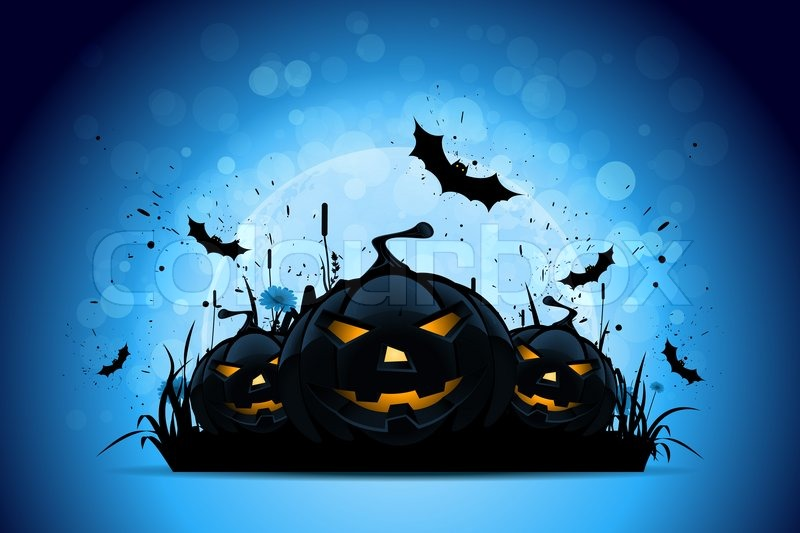 Halloween Background with Pumpkins and Moon | Stock Photo | Colourbox