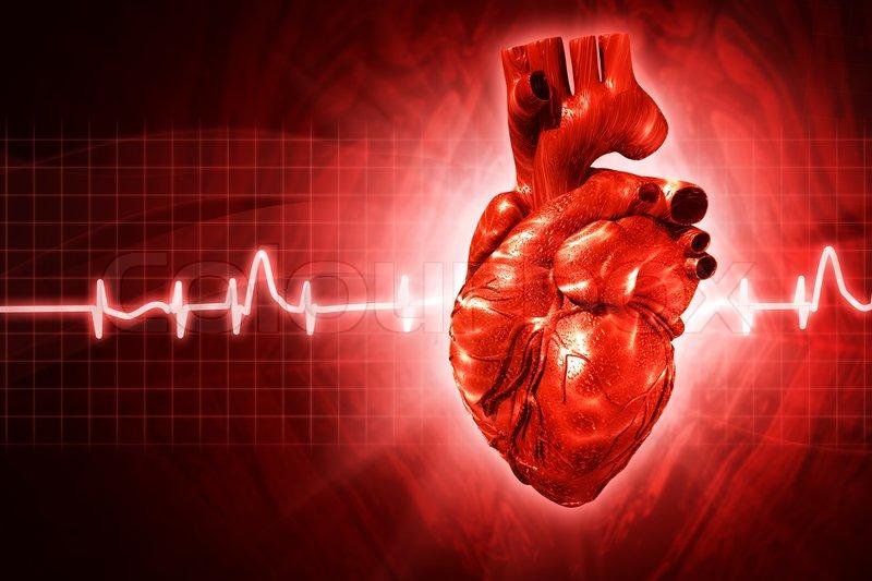 EKG-abstrakt mit 3D gerenderten Herz | Stockfoto | Colourbox