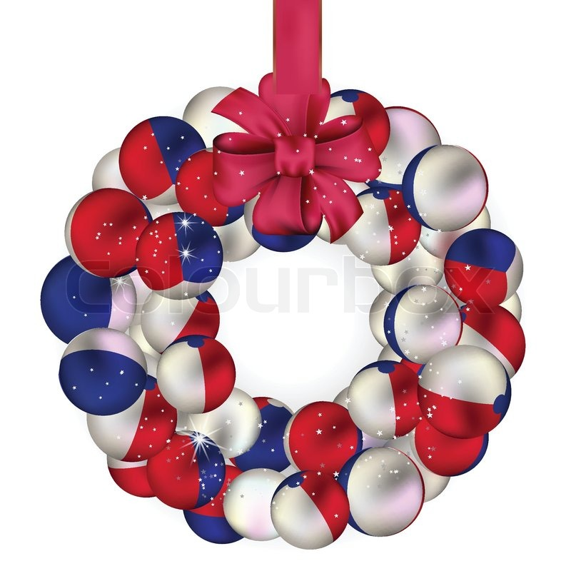 Christmas wreath decoration from USA baubles on white | Stock ...