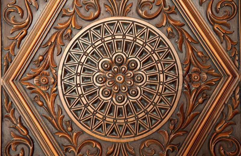 Carvings on the door of a mosque in doha qatar stock