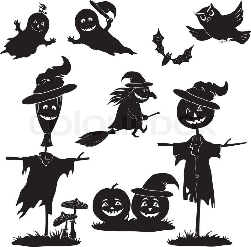 Halloween cartoon, set black silhouette   Stock Vector   Colourbox