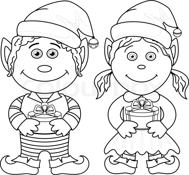 Christmas elves boy and girl outline stock vector for Christmas elf coloring pages