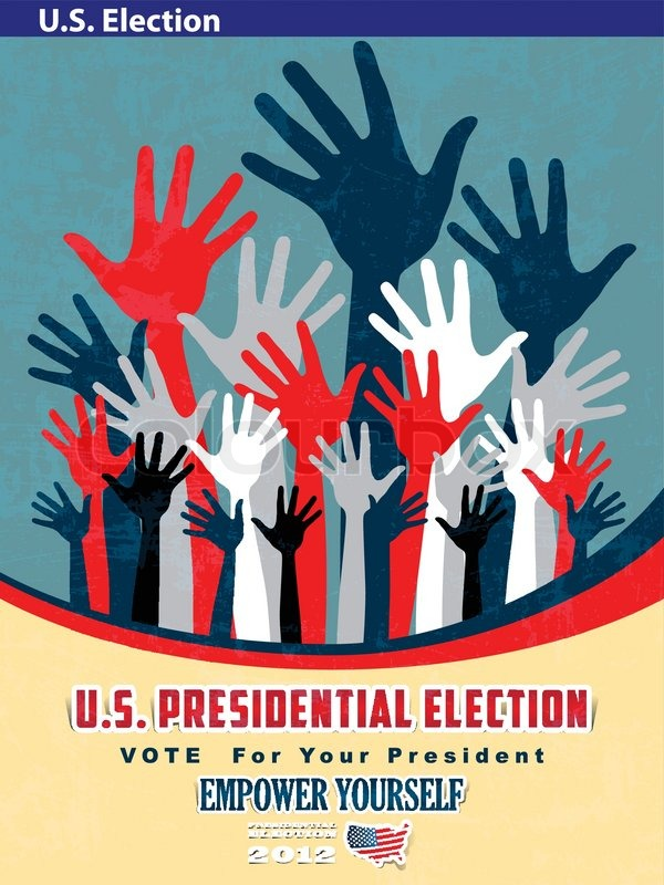 2012 u s presidential election poster and background stock vector
