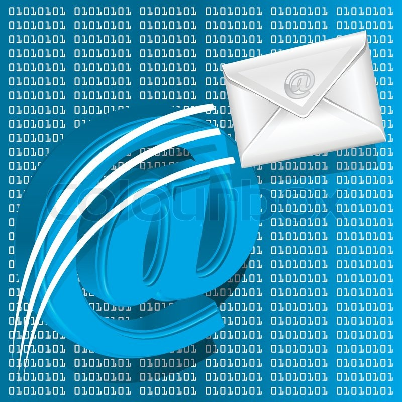 Email symbol on digital number technology theme background | Stock ...